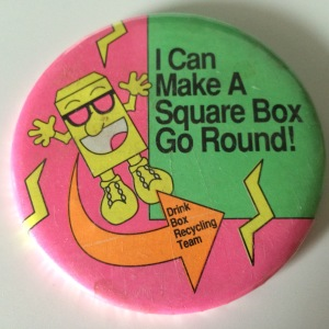 Pinback button from Worthington Estates Elementary School's recycling campaign in the early 90s.